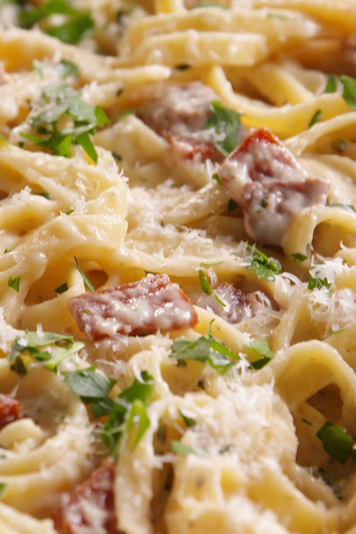 Best Pepperoni Fettuccine Recipe-How To Make Pepperoni Fettuccine—Delish.com