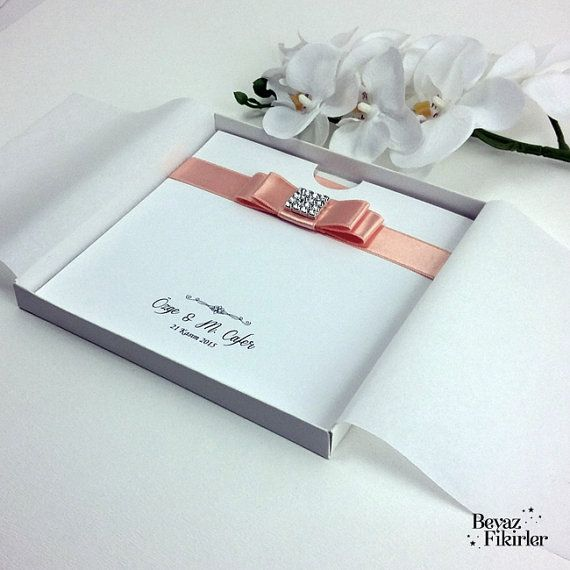 Salmon Pink Luxury Boxed Wedding Invitation 25 by Beyazfikirler