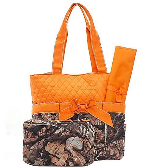 Three piece diaper bag set featuring orange and camouflage print. Perfect for…