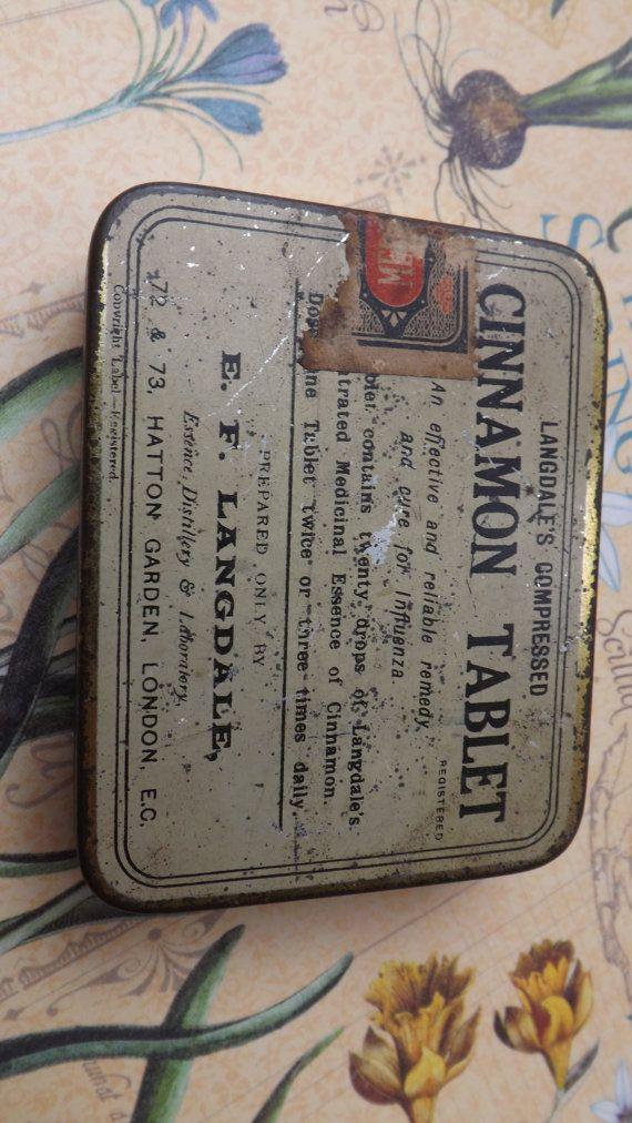 Vintage tin langdales cinnamon tablet tin old by JewelleryQuarter