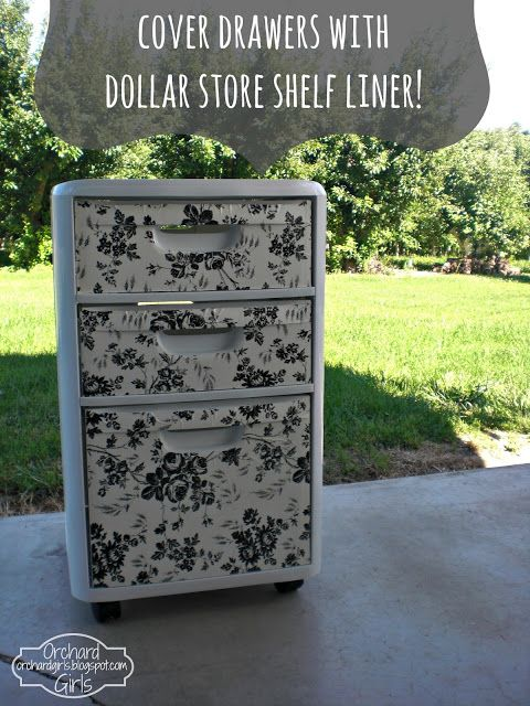 (Plastic drawers  from Target and shelf paper from Dollar Store) Orchard Girls: Thrifty Thursday: Cover Drawers with Dollar Store Shelf Liner!