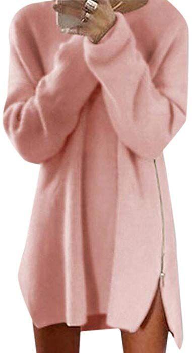 Z Camisetas De Manga Larga Vestido De Suéter Lado Dividida Jersey Para Mujer  Del a464e3240438