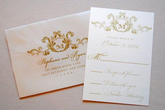 Marfil Champagne y oro invitaciones elegantes de por WhimsyBDesigns