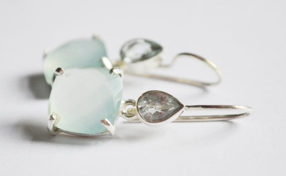 Chalcedony & Crystal Silver Earrings