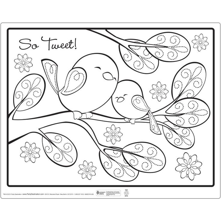 big and little bird - like mom and baby - rounded leaves and birds -  Sweet+Tweet+Bird+Pink++Activity+Placemats