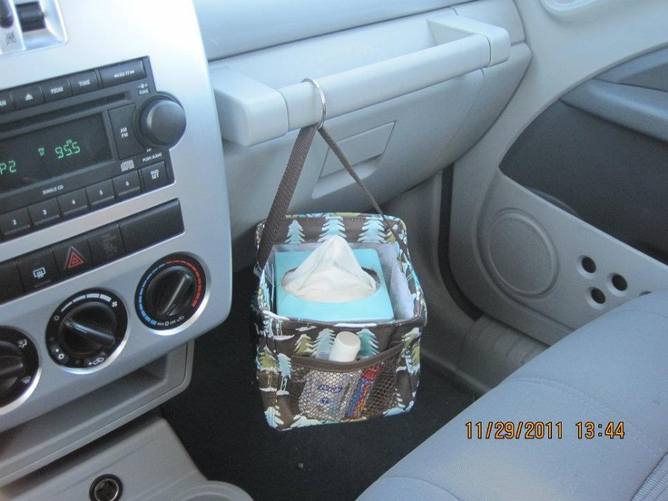Organize your car with a Thirty-One Littles Carry-All Caddy ($12)! Would also work to hang it on a command hook.