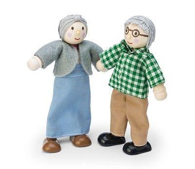 Besteforeldre dukker i treverk- dukkehustilbehør