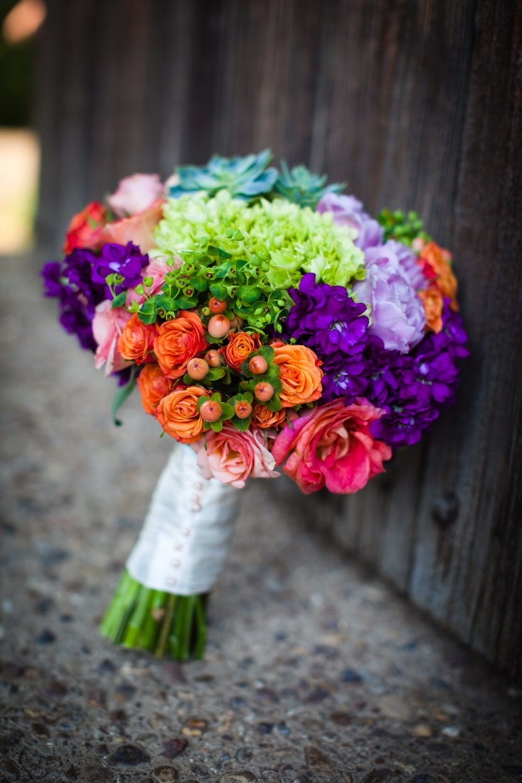 Colorful, rainbow-like bouquet. Vibrant Flowers. Green, purple, orange, pink, by Lush Couture Floral  (www.lushcouturedesign.com)
