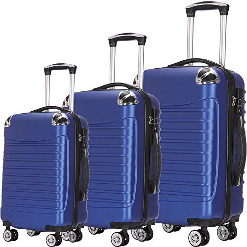 Luggage Set 3 Piece ABS Trolley Suitcase Spinner Hardshell Lightweight Suitcases TSA.