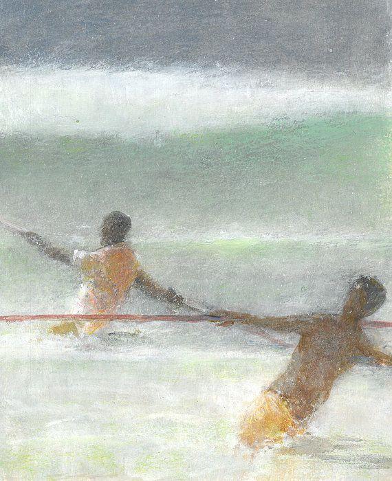 Fishermen Hauling Nets Print By Lincoln Seligman