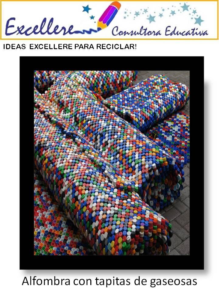 Alfombra hecha con tapitas de gaseosas  Reciclado