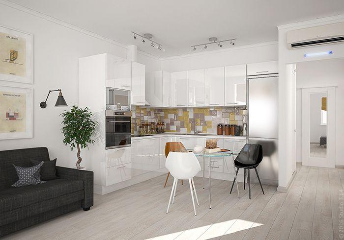 Фасады кухонного гарнитура выполнены из лаконичного белого дерева с лакированной поверхностью.