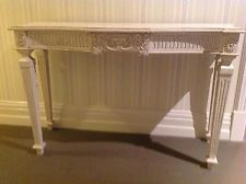 WHITE TIMBER HALL TABLE / SIDEBOARD / ENTRY STAND / CONSOLE - FRENCH PROVINCIAL
