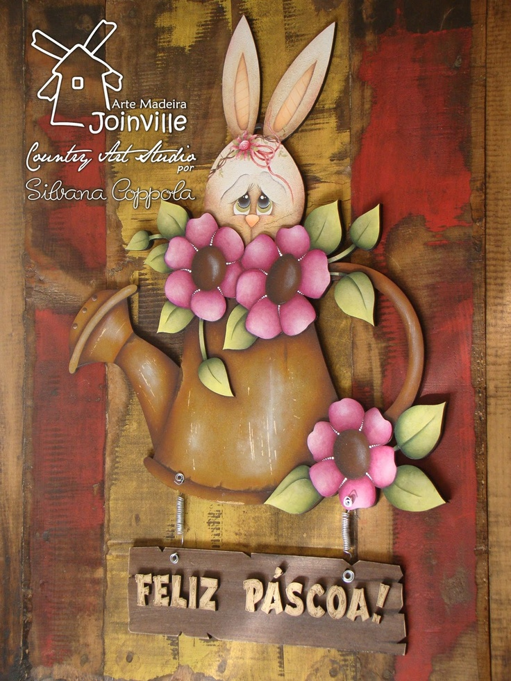 Arte Madeira Joinville: Silvana Coppola: Pintura Country, Madeira Joinvil, Country Flair, Wooden Country, Country Paintingart, Easter Spr Crafts, Art Madeira, Easterspr Crafts, Silvana Coppola