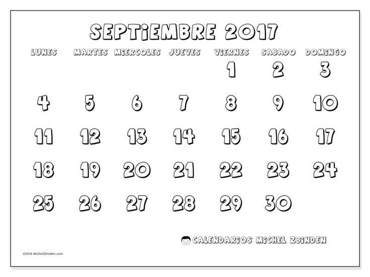 Calendario septiembre 2017 para imprimir, gratis. Calendario mensual : Adrianus (L). La semana comienza el lunes