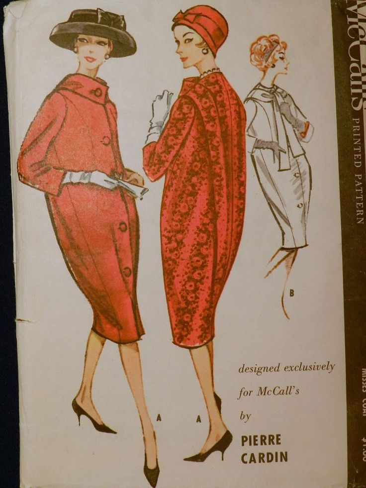 Vtg 1950s 1958 McCall 4695 Pierre Cardin Designer Cocoon Coat Sewing PATTERN 14