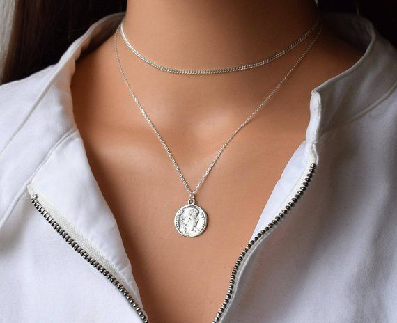 Gold Coin Necklace Cricle Necklace Gold Necklacesilver Sterling Silver Choker Silver Choker Sterling Silver Necklace Dainty