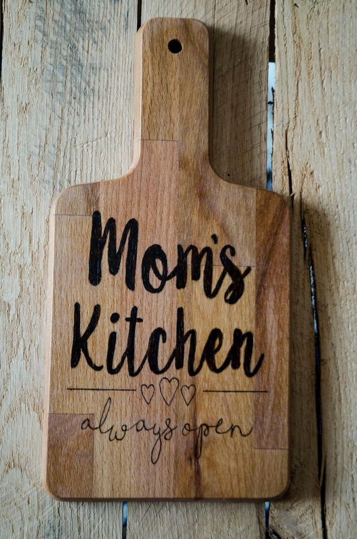 Moms kitchen cutting board custom wood burned personalized cutting board hand made serving board mothers day gift housewarming pyography