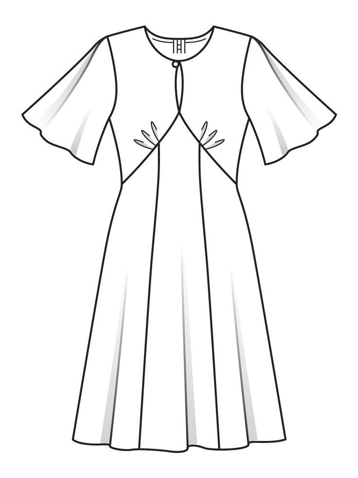 Платье с рукавами-крылышками - выкройка № 118 A из журнала 12/2016 Burda – выкройки платьев на Burdastyle.ru