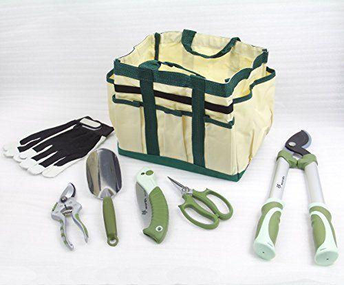 Worth 7 Pieces Ergonomic Garden Tool Set Plant Care Hand Tools Combination  Bagtrowellopperprunerscissorsfolding Sawglove **