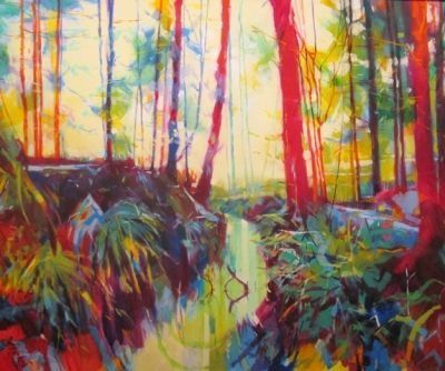 Stream at Speech House 012 028 (acrylic on canvas 120 x 100) £1650 plus delivery by Doug Eaton