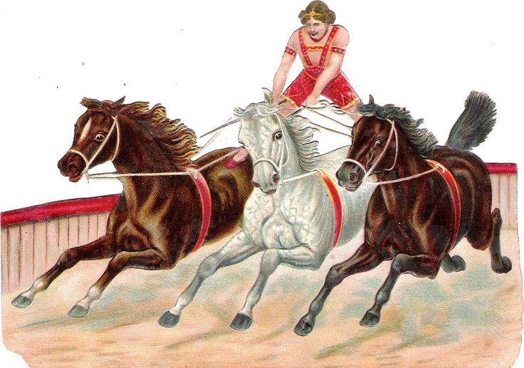 Oblaten Glanzbild scrap die cut chromo Zirkus 16cm circus cirque Pferd horse