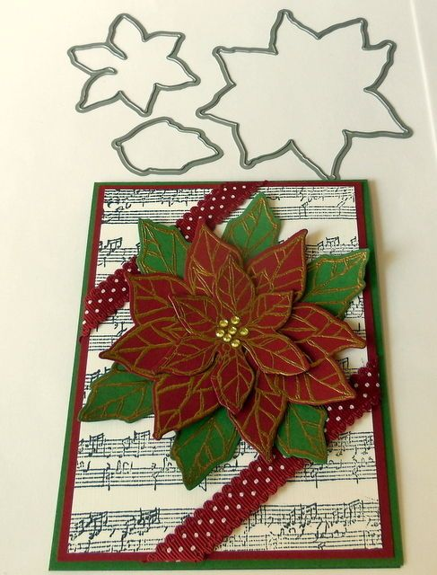 Joyful Christmas dies by dave~Poinsettia & stampin up ribbon #stampinup