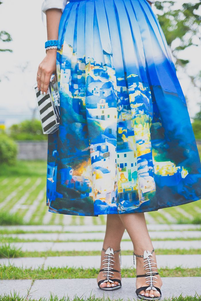 My Blonde Gal: Tea length skirt: Santorini