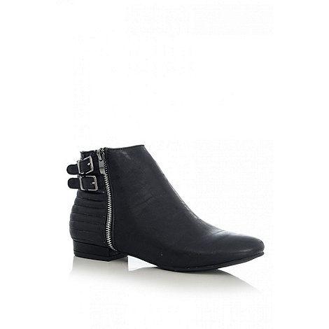 Quiz Black PU Line Quilt Ankle Boots- at Debenhams.com