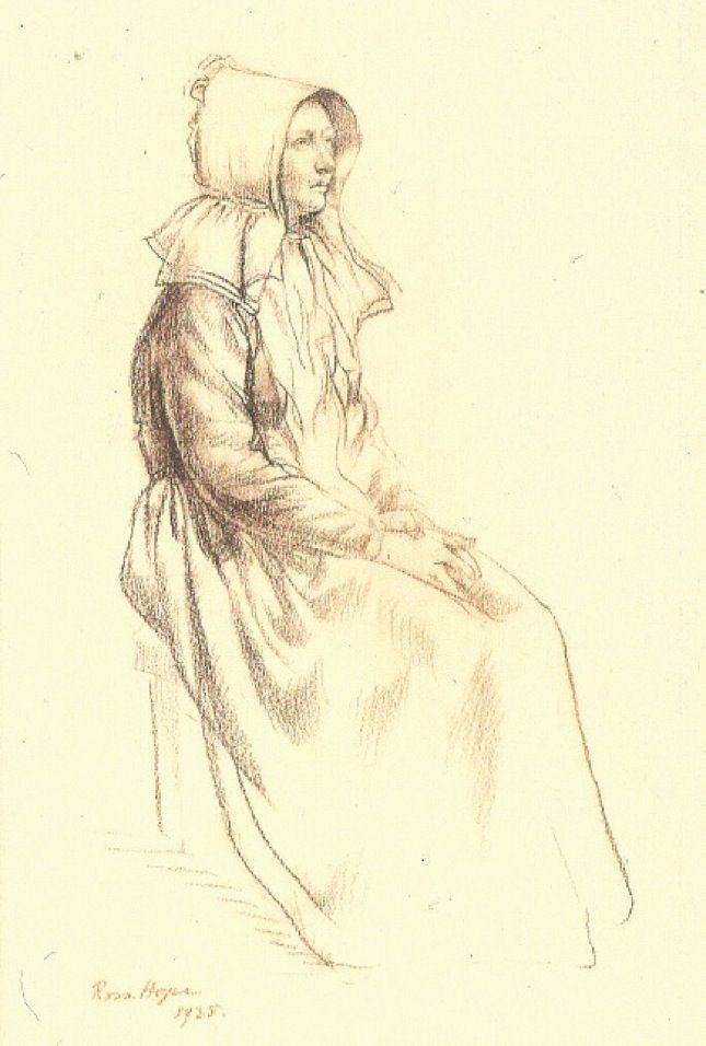 Voortrekker Woman - Rosa Hope. Conte on paper. 1938.