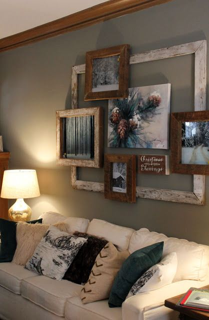 add texture and interest to a wall while displaying favorite pictures giant vintage frame brings this all together and creates a cool rustic look bachmans