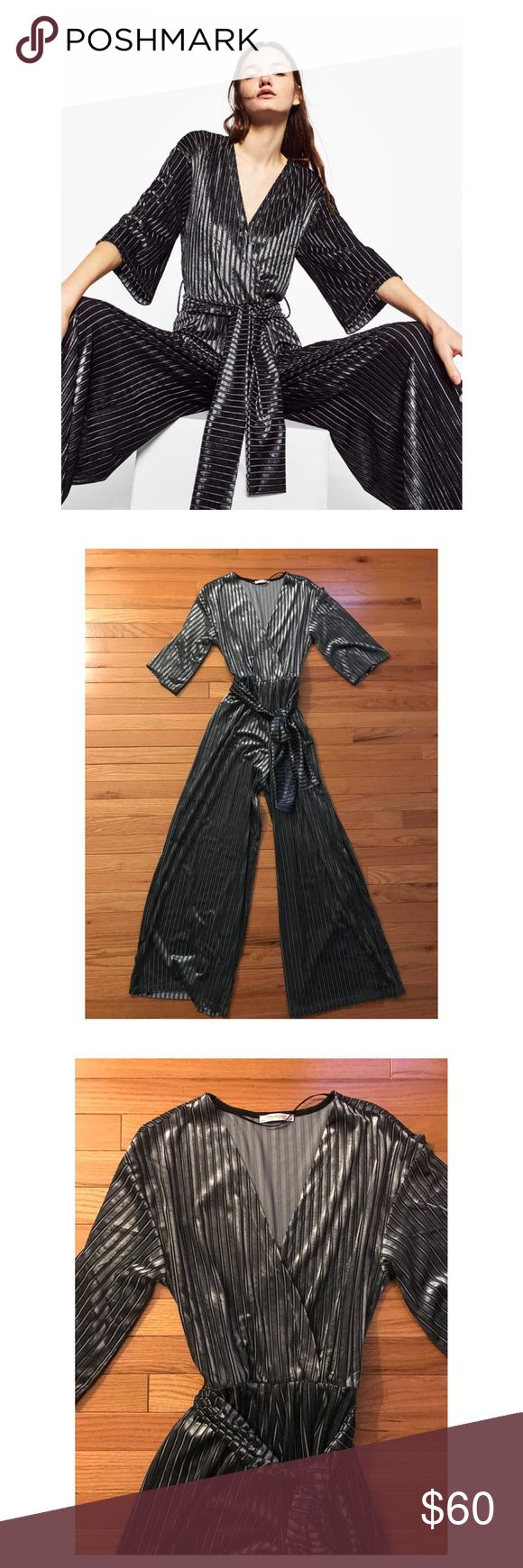 Zara Velvet Stripe Jumpsuit - Medium Blue-ish grey velvet stripe jumpsuit by Zara. Wide leg, with wide sleeve to get your David Bowie on. Snap closure at cross over adds a little more chest coverage. Fabric belt. Excellent condition- only worn once for a few hours. Offers welcome! Zara Pants Jumpsuits & Rompers