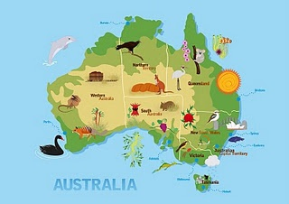 #Australia kids #map, from Ani's design blog. Nice artwork!