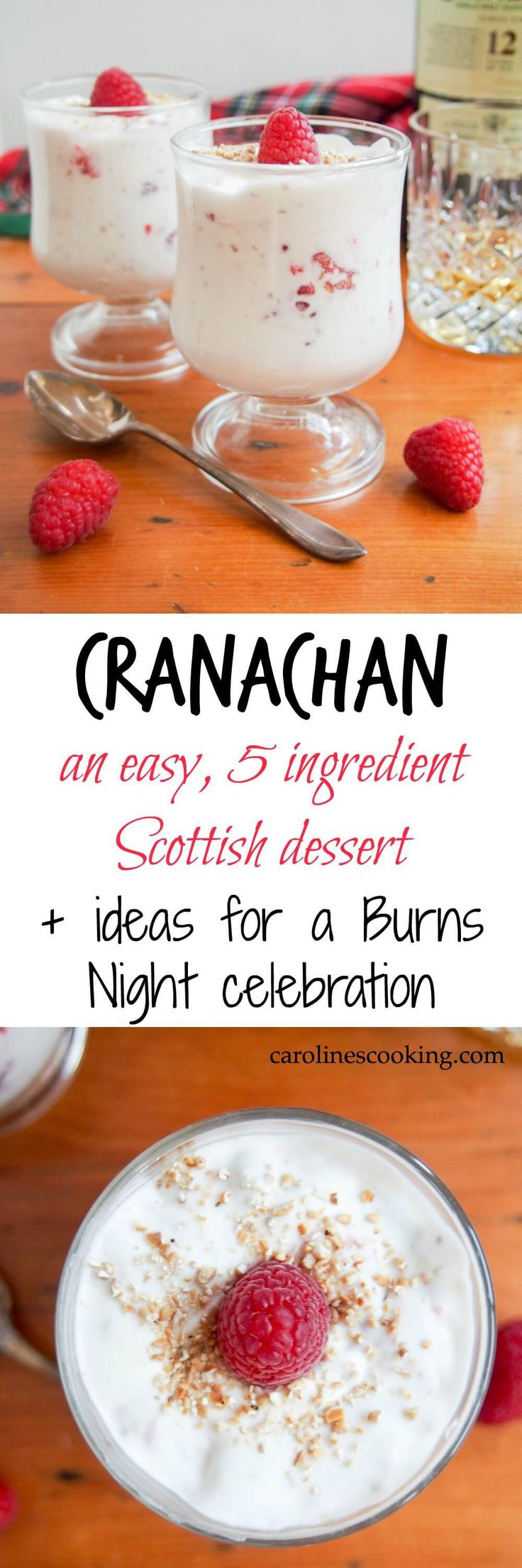 Cranachan is a delicious, easy 5 ingredient dessert (cream, oatmeal, whisky, honey & raspberries) that's perfect to end your Burns Night feast, or any time. #scottishfood #dessert #glutenfree