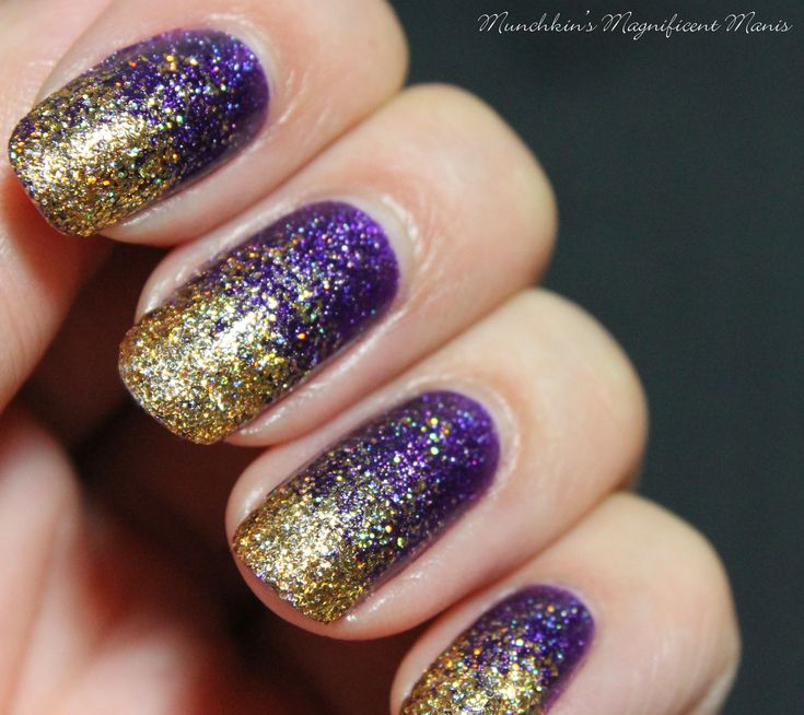 Purple and gold glitter gradient nail design