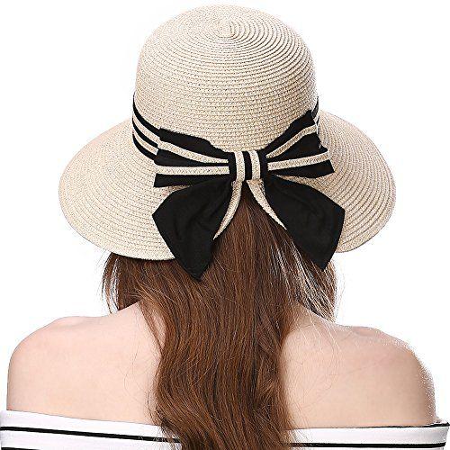 afb35ea3a5 Siggi Floppy Summer Sun Beach Straw Hats for Women Accessories Wide Brim  UPF 50 Packable 56-58cm Beige