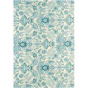 Dit Bluebellgray Aria tapijt beschikt over een prachtige turquoise groen-blauw aquarel patroon, alsof het ontwerp direct op het tapijt is geschilderd.