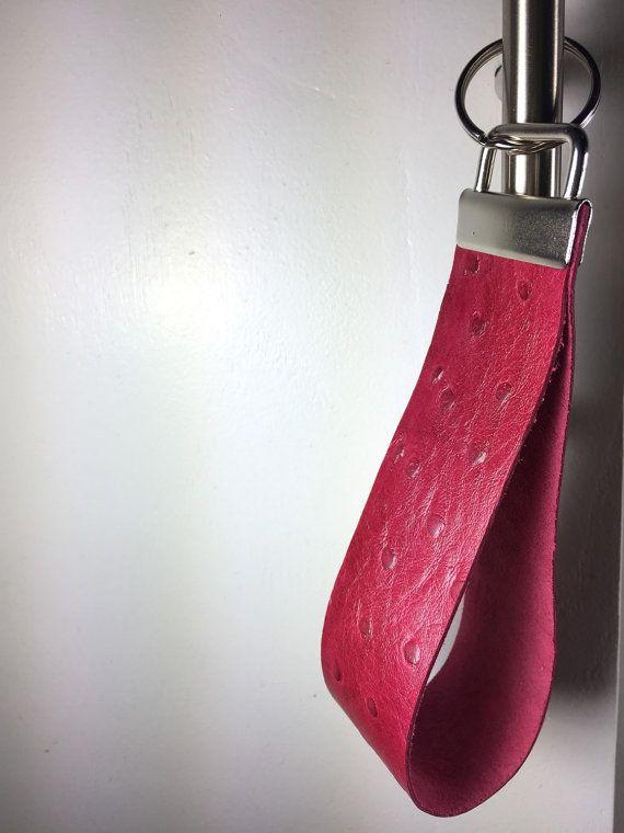 Red Ostrich Leather Wristlet Keychain by BerkeandBradyJo on Etsy