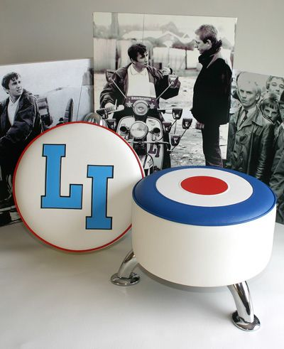 Mod and scooter footstools available. Handmade in England. High Quality. Want with Jam logo!