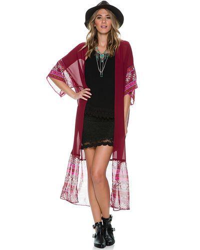 Swell | desert sky kimono - burgundy | $54.50
