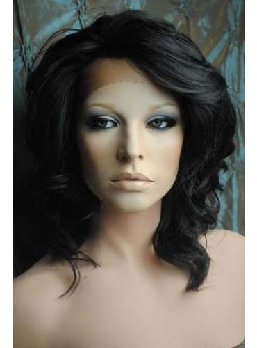 12 Inch Celebrity Hairstyle Deep Wave #1B Lace Front Wigs 100% Indian Remy Human Hair [CLF007]
