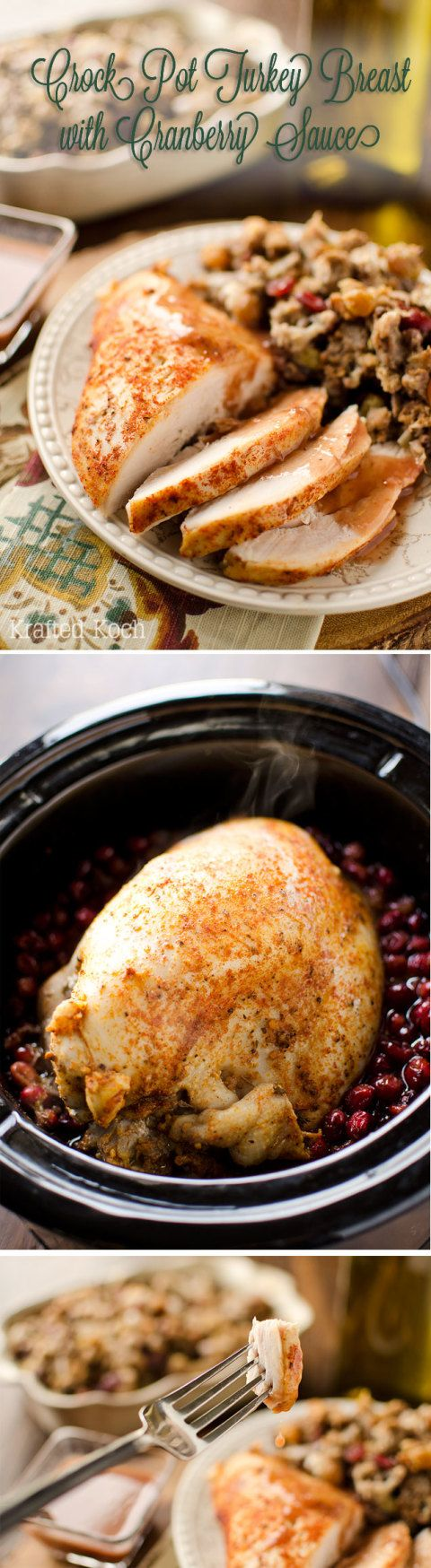 Crock Pot Turkey Breast with Cranberry Sauce - Krafted Koch -  The BEST turkey recipe you will every try! Turkey breast that is brined and slow cooked for a wonderfully flavorful and crazy juicy piece of meat along with a cranberry sauce that makes itself in the slow cooker. You will never look at turkey the same way again!