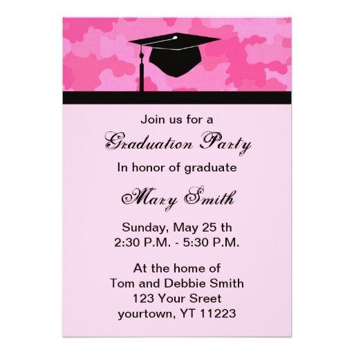 "Monogram Pink Camouflage Graduation Party Invite 5"" X 7"" Invitation Card"