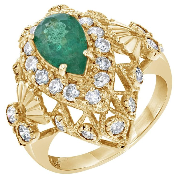 2.75 Carat Emerald Diamond Art Deco Cocktail Ring | From a unique collection of vintage cocktail rings at https://www.1stdibs.com/jewelry/rings/cocktail-rings/