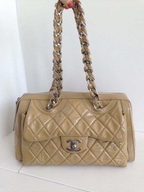 CHANEL Nude Patent Leather Day Glow Flap Bag 100% Authentic
