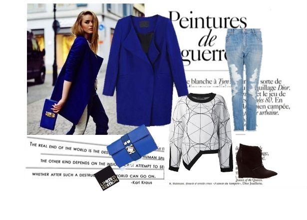 Уличный лук с пальто прямого кроя, blue coat, street, look, fashion