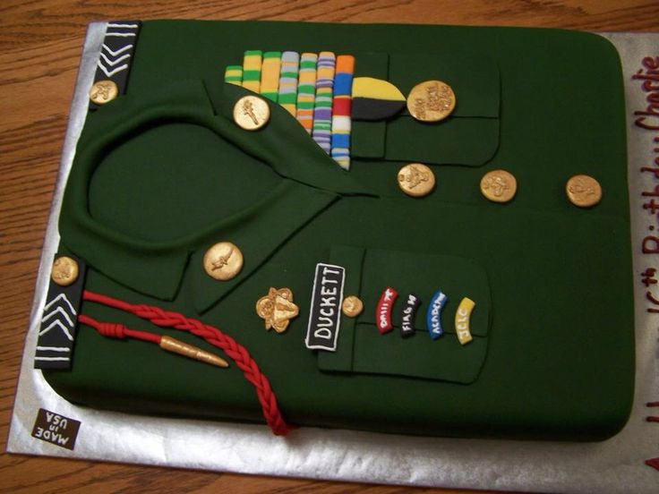 ROTC cake . Made for my nephew Charlie, it's a replica of his Overcoat and medals. ROTC Cake Birthday