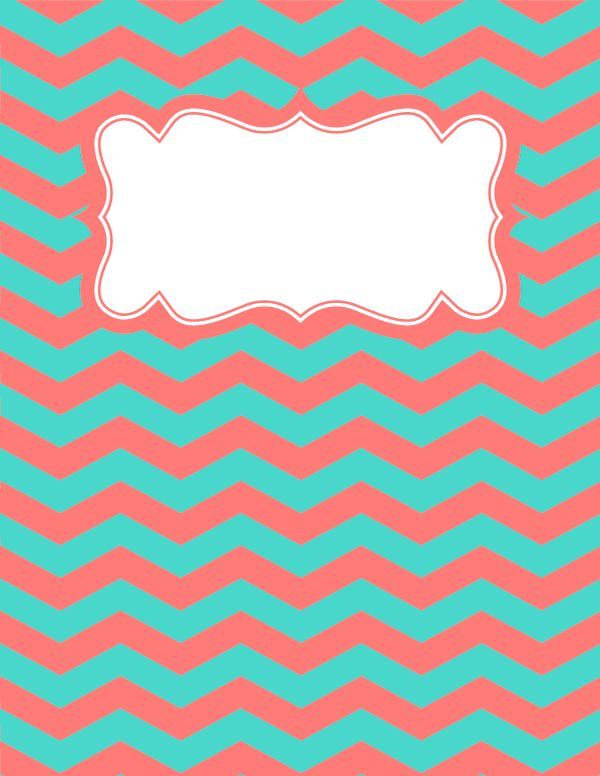 Free printable coral and teal chevron binder cover template. Download the cover in JPG or PDF format at http://bindercovers.net/download/coral-and-teal-chevron-binder-cover/