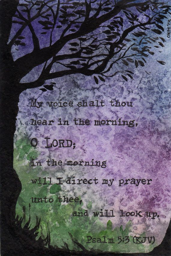 "Original Watercolor Painting - Psalm 5:3 ""My voice shalt thou hear in the morning, O Lord"" KJV OOAK on Etsy, $40.00"