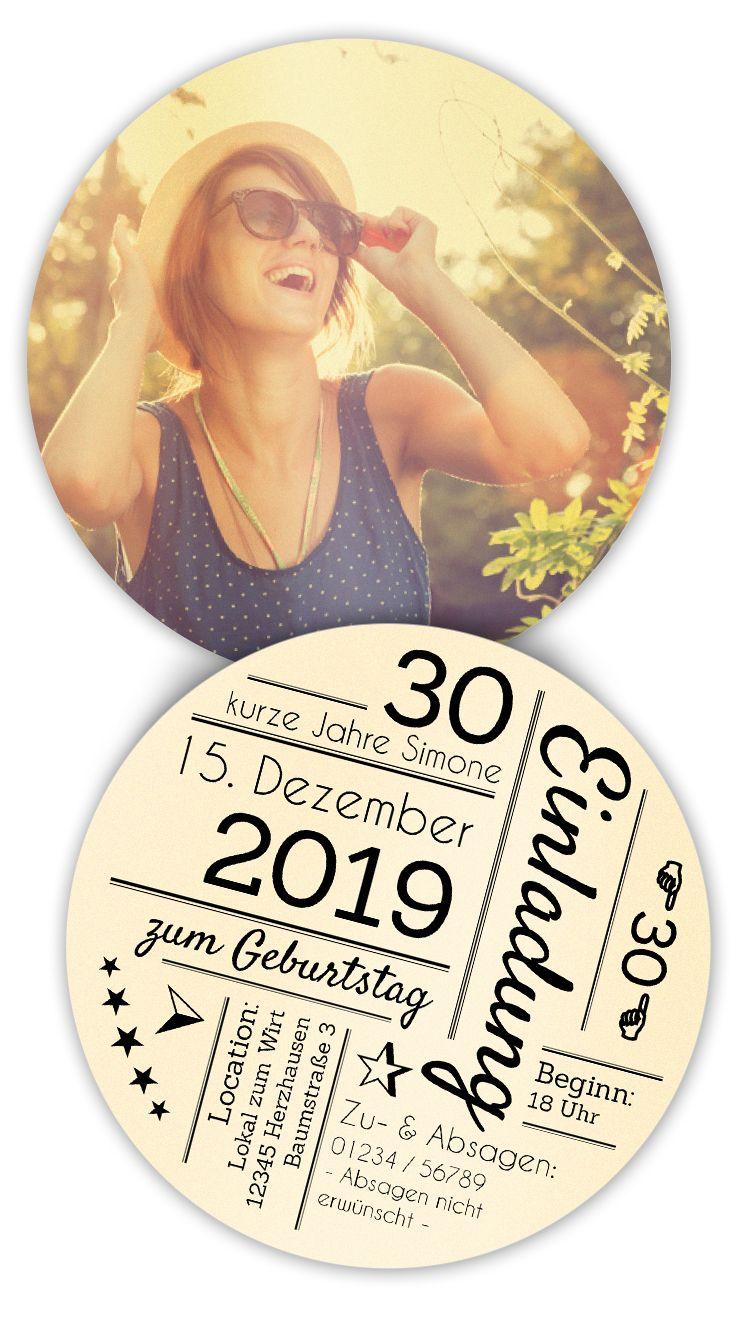 Ausgefallene Einladung als Bierdeckel mit Ihrem Text gestalten und Online bestellen! Durchmesser 10,3 cm (Party Diy Ideas)